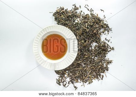 A cup of tea and dried tea leaf