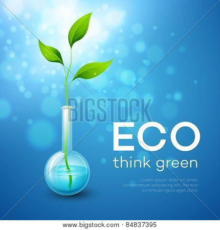 Twig in the flask. Vector illustration of ecological.
