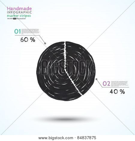 Handmade infographic marker stripes