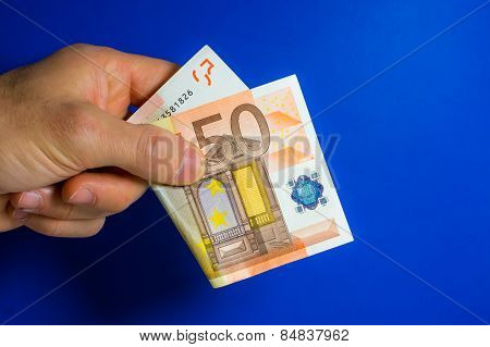 Hand Give One Banknote