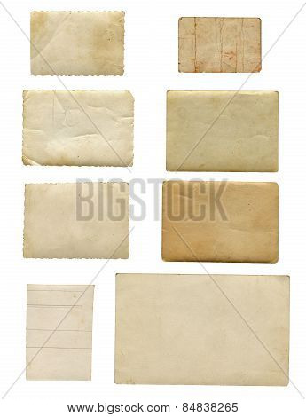 Eight Old Photos, Back Side, Isolated On White