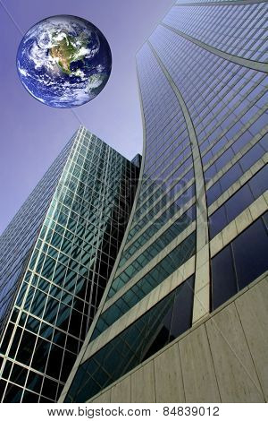 Abstract curved skyscraper with planet earth in the sky.  Earth image used courtesy of NASA  (http://earthobservatory.nasa.gov/)