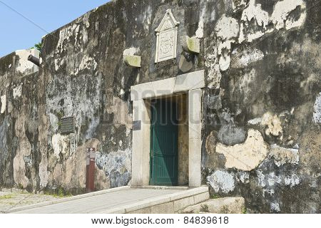 Exterior wall and entrance to the Guia Fortress in Macau, China.