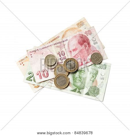 Turkish Money Isolated On White Background