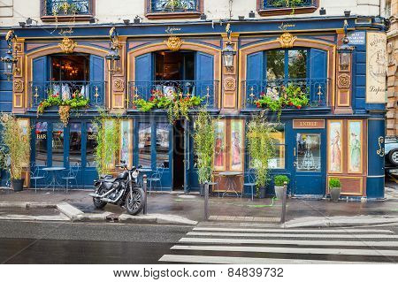 Bar Facade On The Quai Des Grands Augustins, Paris