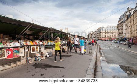 Small Souvenir Shops With Walking People, Paris, France