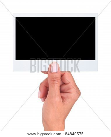 Hand Holding A Blank Photo (clipping Path)