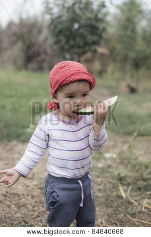 Sweet Toddler Eating A Sweet Watermelon
