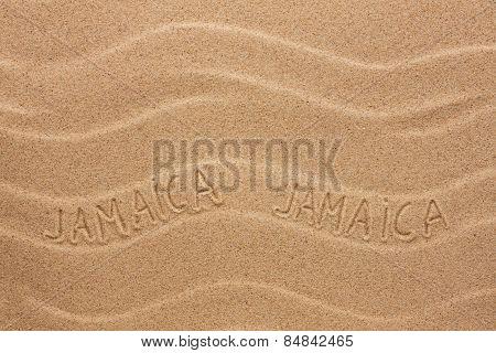 Jamaica  Inscription On The Wavy Sand