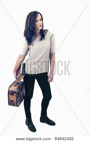 Beautiful Young Woman Going On Vacation With A Suitcase And Books