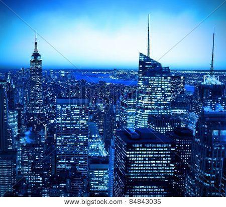 New York City skyline at night with blue hue