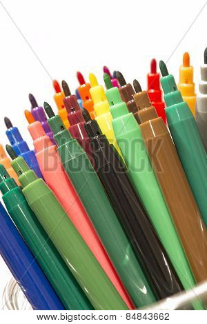 Fragment Of Colorful Markers Set, Isolated On White