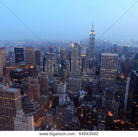 New York City skyline at sunset on a hazy day