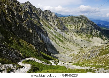 View From Krzy?ne Pass On Panszczyca Valley In Polish Tatra Mountains