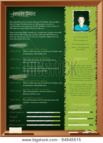 Cool School Theme Resume Design With Chalkboard