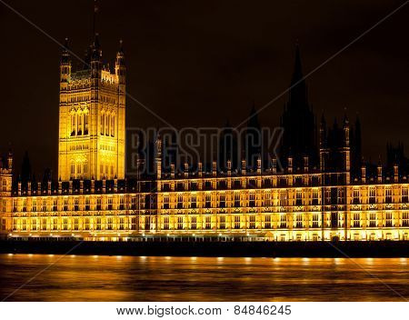 House of Parliament at night, London, UK
