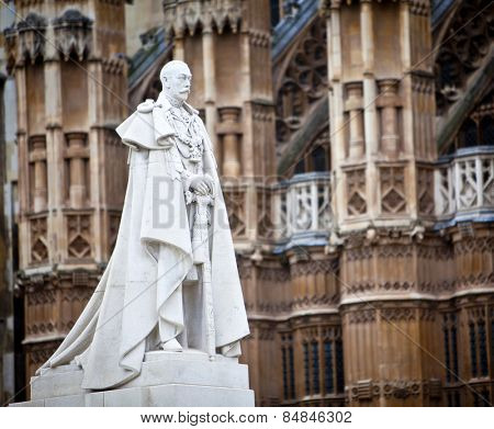 King George V memorial outside the Houses of Parliament, London, England