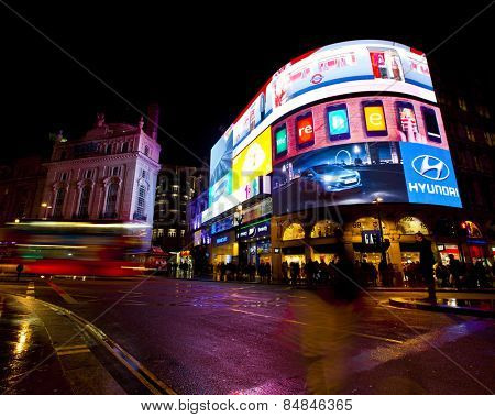 LONDON, ENGLAND FEB 13: Famous Piccadilly Circus neon signage that has become a major attraction of London on Feb 13, 2012 in London, United Kingdom.