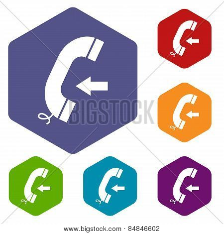Incoming rhombus icons