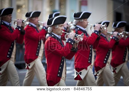 NEW YORK, NY, USA - MAR 17: Marching band members of US military soldiers in traditional uniform at the St. Patrick's Day Parade on March 17, 2012 in New York City, United States.