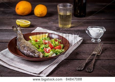 Fish With Salad And White Wine