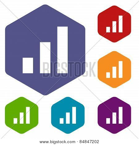 Graph rhombus icons