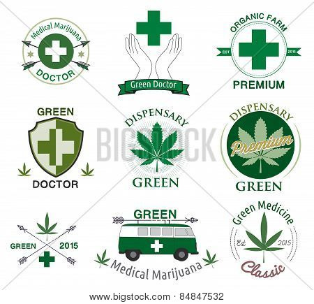 Vector set of cannabis and marijuana.