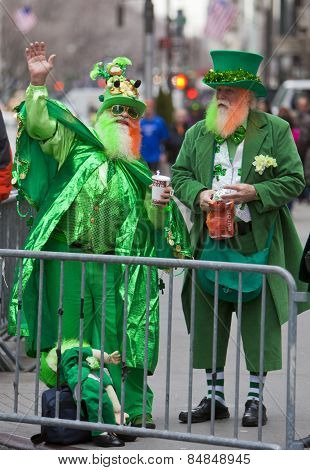 NEW YORK, NY, USA - MAR 16:  Two men in funny leprechaun costumes at the St. Patrick's Day Parade on March 16, 2013 in New York City, United States.