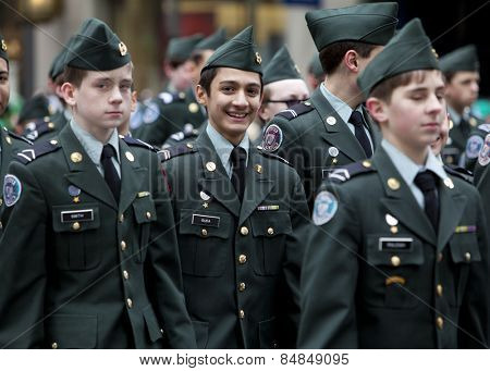 NEW YORK, NY, USA - MAR 16:  Military cadets at the St. Patrick's Day Parade on March 16, 2013 in New York City, United States.