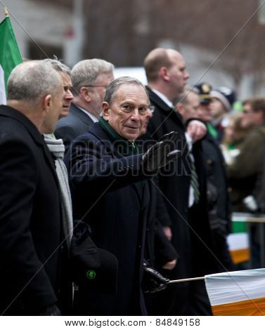 NEW YORK, NY, USA - MAR 16:  Mayor Bloomberg at the St. Patrick's Day Parade on March 16, 2013 in New York City, United States.