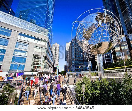 NEW YORK CITY - Aug 30:  Columbus Circle is a major landmark and attraction in New York on August 30, 2012 in Manhattan, New York City.