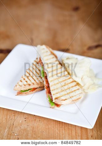Fresh toasted panini blt sandwich with grill marks