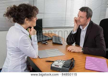 A man job applicant having an interview
