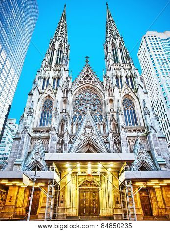 Exterior of St. Patrick's Cathedral in New York, New York.