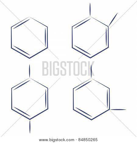 Molecule benzene ortho meta couple standing