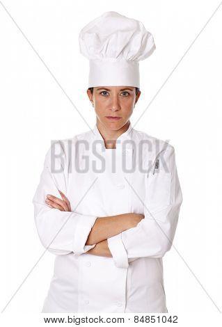 Female chef isolated on white background