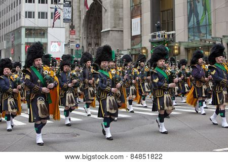 NEW YORK, NY, USA - MAR 16:  Bagpipers at the St. Patrick's Day Parade on March 16, 2013 in New York City, United States.