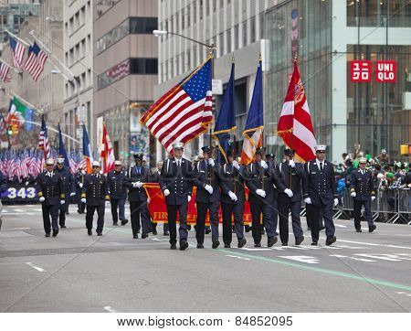 NEW YORK, NY, USA - MAR 16:  NYFD at the St. Patrick's Day Parade on March 16, 2013 in New York City, United States.