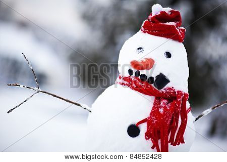 Snowman with red hat and scarf outside