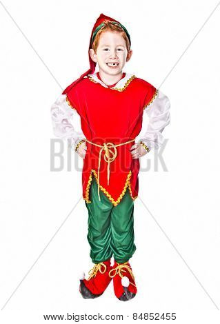 Cute boy in a Christmas Elf costume