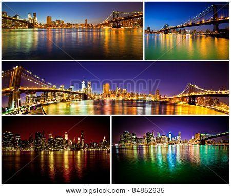 Manhattan Bridge and Brooklyn Bridge with Manhattan skyline collage