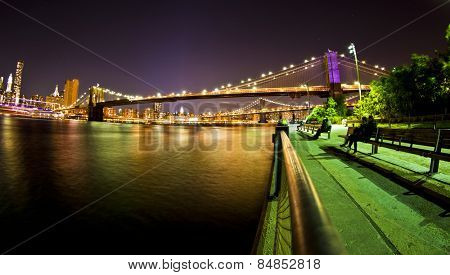 Brooklyn Bridge park and greeway path by the East river in New York