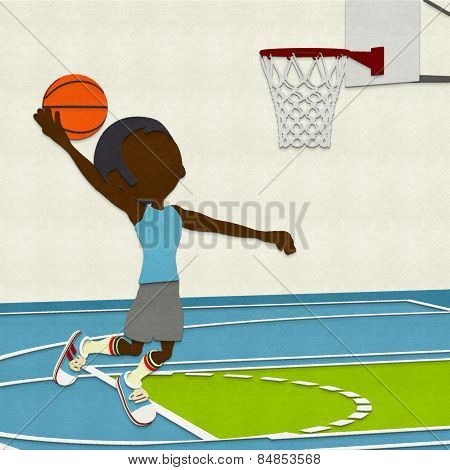 Felt Basketball Player Dunking On Court
