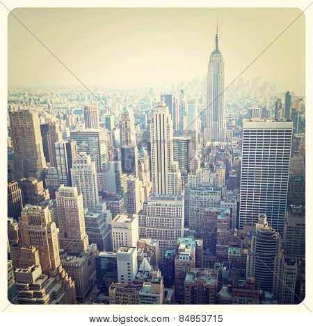 View over the skyscrapers of Manhattan, New York with Instagram effect filter