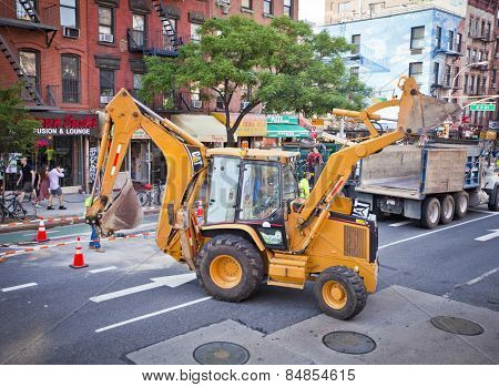 NEW YORK, USA - JUNE 28th 2014: Roadworks on New York's busy 1st Avenue.