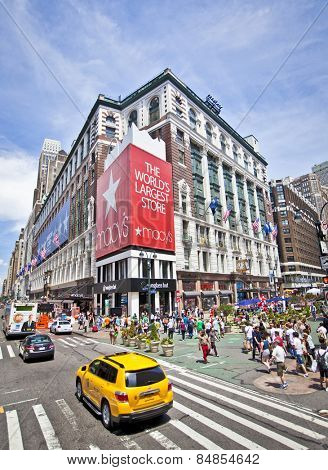 NEW YORK, USA - JUNE 28th 2014: Famous Macy's store in Herald Square, a very popular destination for tourists and shopping.