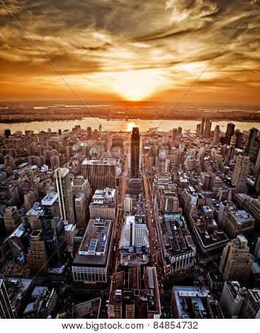 Vivid sunset over New York taken from the Empire State Building