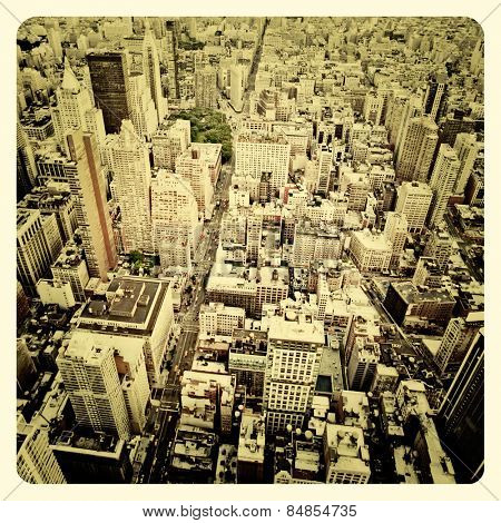 Aerial view of Manhattan with Instagram style filter