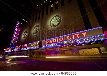 NEW YORK CITY, USA - JUNE 28, 2014: Radio City Music Hall in Rockefeller Center is home of the Rockettes and the famous Christmas Spectacular.