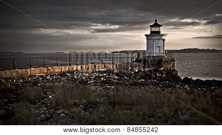Bug Light Lighthouse on top of a rocky island slow exposure
